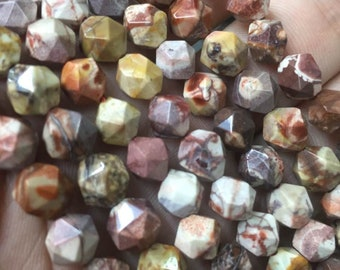 8mm 48 pcs Natural Birdseye Rhyolite Faceted Beads, Multicoloured Beads, Full Strand