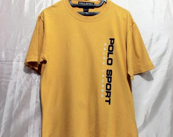 Vintage Polo Sport Ralph Lauren T Shirt size Medium Mens yellow