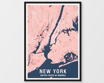 New York Map Etsy - Usa map ny