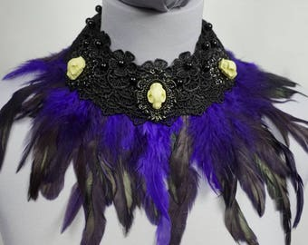 Sale black collar with purple black feathers black collar with resin wolf skulls and purple black feathers