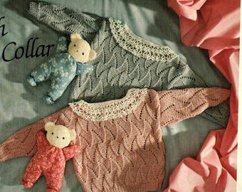 Two designs Babies Lacey Cardigans Knitting Pattern pdf