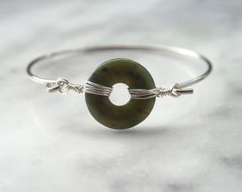 Jade Bangle, Gemstone Donut, Gemstone Bangle, Jade Bracelet, Gemstone Bangle, Donut Bracelet, Gemstone Gift,