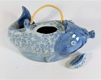 Chinoiserie Koi Pitcher Hand Painted With Lid and Cane Wrapped Handle Porcelain Asian Decor Vintage Blue and White Collectible