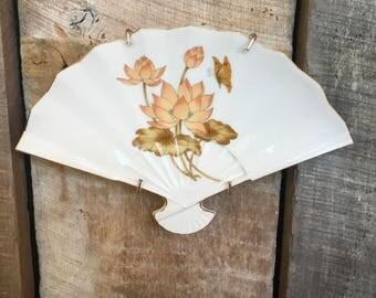Vintage ceramic fan Japan wall decor trinket dish peach flower retro mid century gift holiday
