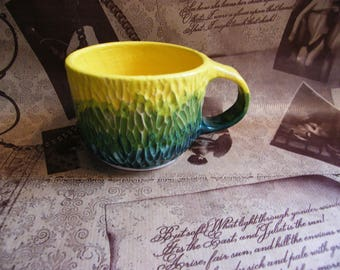 Ceramic Tea Cup, Sunny cup, Summer dishes, Grassy Golden Circles, Clay Tea Cup