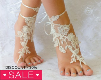 Beach anklets, wedding shoes, wedding shoes lace, wedding shoes for bride, wedding shoes white