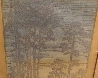 """Newcomb College Henrietta Davidson Bailey """"Pines in Louisiana"""" 1920's Arts and Crafts Woodblock Print"""