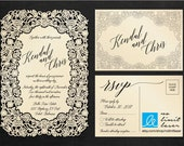 Laser Cut Flower Edge Invitation - custom design, lace, die cut, rsvp, metallic, envelope - No Limit Laser / Arkansas Graphics