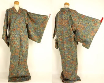 M53002 Beautiful Japanese Kyo-Yuzen Komon Kimono Washable