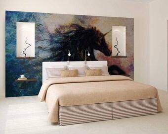 Wall Mural Painting, Wall Mural Horse, Wallpaper Painting, Horse Wall Decal, Watercolour Painting