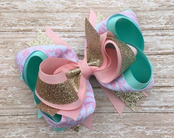 Double stacked boutique hair bows, big hair bows, double stacked hair bows, pink hair bows, aqua hair bows, over the top hair bows, damask