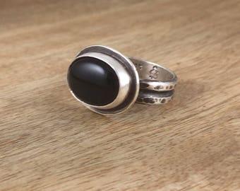 Onyx Ring - Black Ring - Black Gemstone - Dark Jewelry - Boho - Gypsy - Size 7 - Item 17033