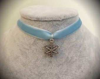 Frozen Elsa Ice Queen Disney Princess Velvet Choker Necklace