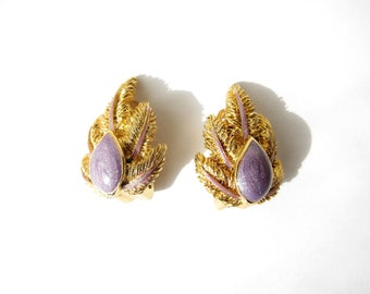 Gold clips Balenciaga Paris 1980 1990 Vintage vegetable earrings enamel leaves purple 80's 90's luxury