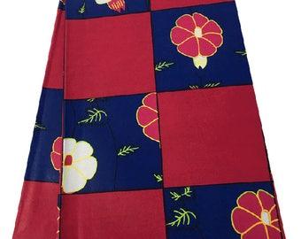 African Prints Ankara Red and Blue Flower Ankara Fabric 6 yards