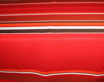 Fantastic large Christmas vintage retro rectangular 70s Tablecloth with stripes. Made in Sweden Scandinavian.