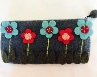 Flower zipped large pencil/ makeup / money purse. Gift accessories .