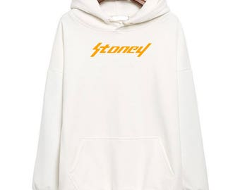 Post Malone Stoney Orange Logo Hoodie Classic Style Hip Hop Fleece Sweatshirt Rap Lets Get It Esskeetit  Merch Beerbongs and Bentleys Rapper