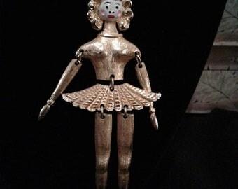 20% Off Sale vintage Articulated Ballerina Pendant Necklace