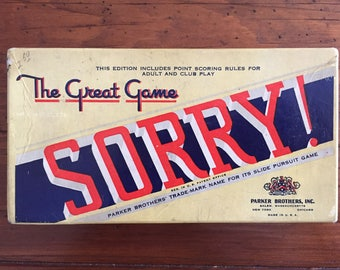 Vintage 1950 Edition of Sorry Game
