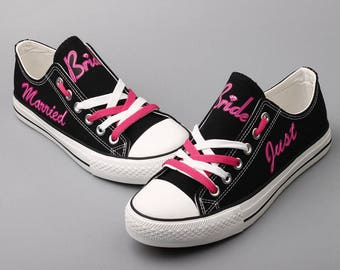 Custom Bride Shoes Just Married Wedding Day Shoes Sneakers Tennis Shoes