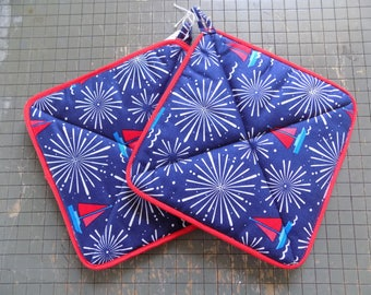 Red, White, & Blue Firework Hot Pads