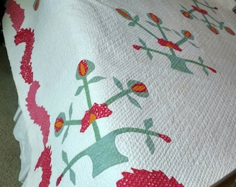 Perfectly lovely folky quilt, similar to a Carolina Lily and ca. 1880, don't wait...priced at only 245, it won't last long!!