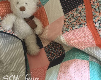 Quilted Baby Blanket, crib size Quilt