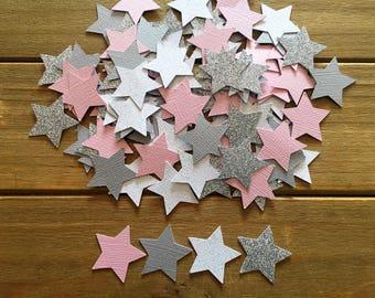 100 Star Confetti, Silver Star, It's a Girl, star decoration, star baby shower, baby shower confetti, Twinkle twinkle, star is born, die cut