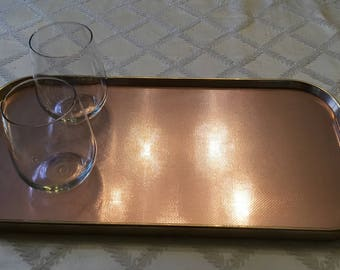 Vintage 1950s 'Kaymet' Rose Gold Metal Tray