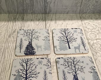 Christmas deer coasters, Christmas tablewear, christmas deer in a forest coasters, christmas decoration,