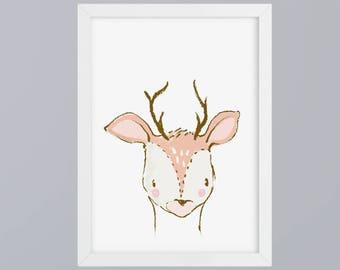 Deer gezeichnet-art print without frame