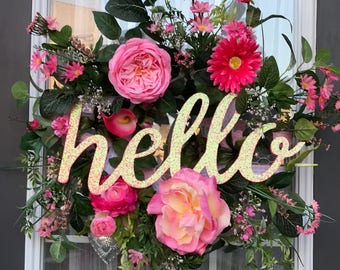 Pink Hello Wreath- Pink Floral Wreath- Front Door Wreath- Floral Wreath-   Spring Wreath- Summer Wreath- Everyday Wreath-