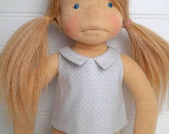 Gray DOLL SHIRT with collar