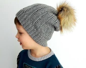 Sanya's winter hat, knitting, crochet baby, women, children, boys, men, pompom, wool, yarn, fur, handmade, black, grey, red, green, purple