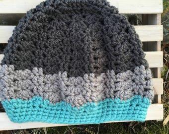 Gray and Aqua Chucky Lacy Slouch Handmade Crochet Hat Child Teen Adult