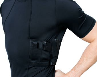 GrayStone Mens Crew-Neck Concealed Carry Gun Holster Tactical Shirt Black White
