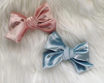 Velvet Bow Bundle | Sailor Bows | Velvet Bows | Pink Bows | Blue Bows | Nylon Headbands | Fabric Bows | Bows | Baby Girl Bows