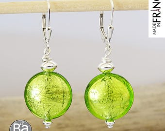 Earrings green Murano glass and silver DRAGEES