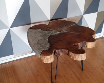 Tafel, side table, wood and concrete, design, hairpin,