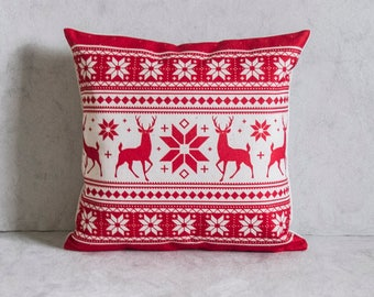 Christmas Pillow Cover, Snow Flake Pillow Cover, Reindeer Pillow Covers, Throw Pillow, Christmas Throw Pillow, Decorative Pillow Cover