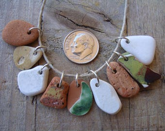 9 Sea Pottery Charms-colorful English sea pottery-Vintage sea ceramic Pendants-Jewelry Supplies-Handmade