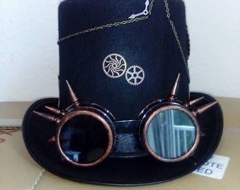 Gothic Steampunk Hut Hat Hoherer Zylinder Spiked Goggles Steampunk Deko Size 59