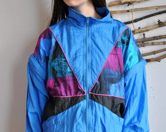 Detachable sleeves windbreaker 1990s 1980s vintage blue pink 90s sport jacket hipster wind blazer