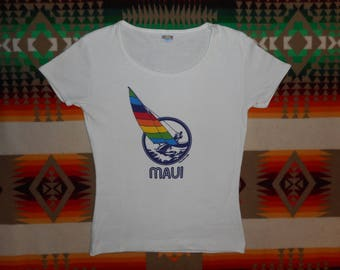 80s Maui Windsurfing Sailboat Baby Ribbed Knit Top Size S-M