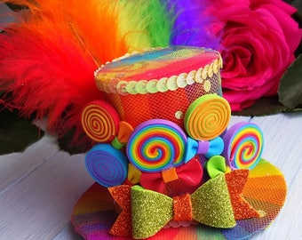 Mini Top Hat Headband Rainbow Mini Top Hat Mad Hatter Hat Tea Party Hat Alice in Wonderland Top Hat Fascinator Rainbow Mini Hat Baby Shower