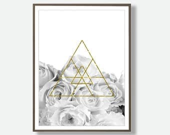 Flower Wall Art, Rose Print, Black and White Flower, Grey Flower, Instant Download, Botanical Print, Geometric Artwork, Minimalist Botanical
