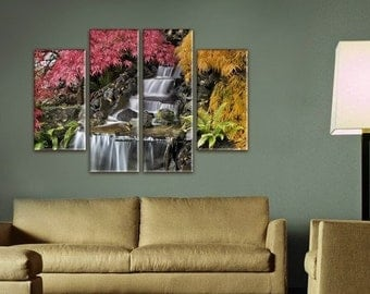 Waterfall Wall Art, Large Canvas art, Interior Art, Room Decoration, Extra Large Wall decor 4 Panel Canvas, Photo Print on Canvas