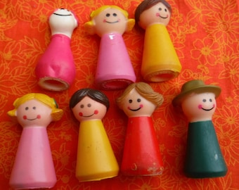 Vintage 1960's Rubber Family Finger Puppets  Kids toy Collectible Q E P Bronx NY Repurpose