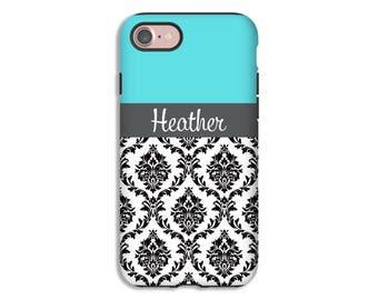 Personalized iPhone 7 case, damask iPhone case, iPhone cases for girls, iPhone 6s Plus case/6s, 3D iPhone case, tiffany blue iPhone case